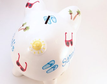 Vacation Piggy Bank - Personalized Piggy Bank - Honeymoon Piggy Bank - Vacation Fund Bank - Ceramic Bank - with hole or NO HOLE in bottom