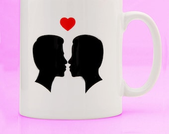 Gay Silhouette Mug - gay mug - gay boyfriend gift - gay gift - gay birthday - gay couple mug