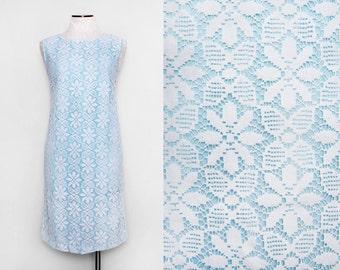 50s Sun Dress. Sky Blue Dress. Floral Lace Dress. 50s Summer Dress. Lace Shift Dress. 50s Sundress. 1950s Dress Medium. Patio Vogue Dress.