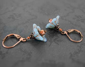 Blue and Copper Czech Glass Flower Bead Earrings - Copper Jewelry - Floral Genuine Copper Wires Leverback Earrings - Blue Flower Earrings