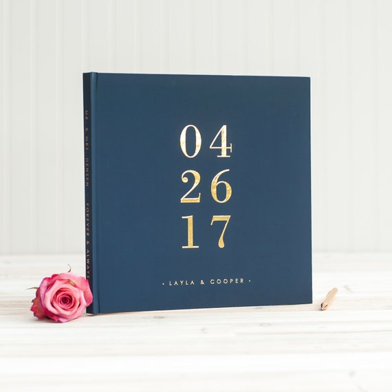 Navy and Gold Wedding Guest Book with Real Gold Foil guestbook 12x12 wedding guest sign in personalized instant photo wedding gift hardcover