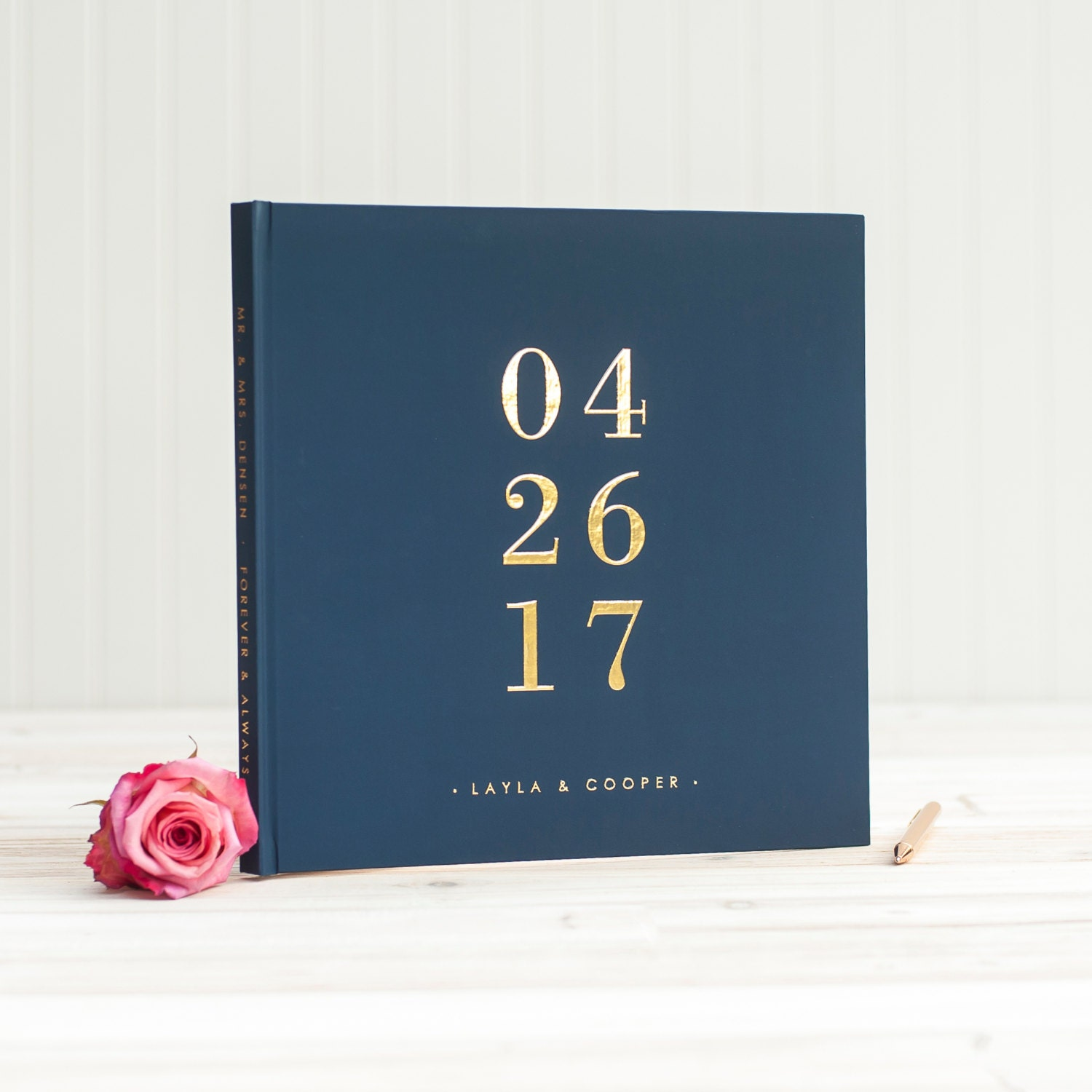 Boudoir Photo Book Cover Ideas : Navy and gold wedding guest book with real foil