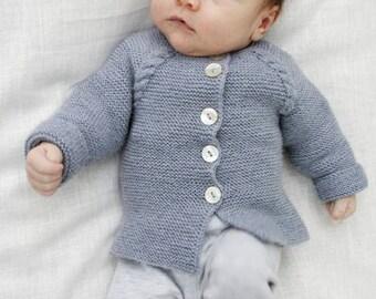 100% merino wool Cardigan with braids