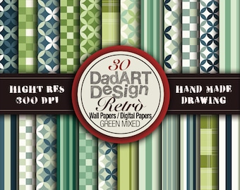 30 Retro Green Pattern, seamless, digital papers / wallpapers