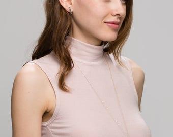 Minimal Gold Necklace . Long Necklace with Gold Stick Pendant  EN020