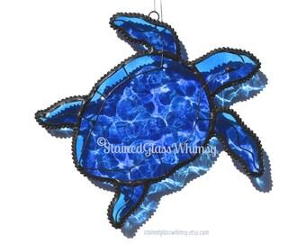 Sea Turtle Suncatcher, Stained Glass Blue Transparent, Highly Textured, Original Design, Beach Ocean Decor, Blue Sea Turtle, Coastal Decor
