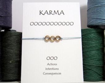 Silver 3 Circle Karma Bracelet  (Pick your color)