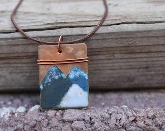 Handpainted Enamel Copper Mountain Necklace