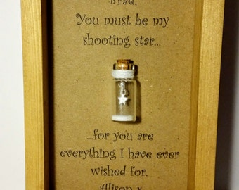 Boyfriend gift, Anniversary gift for boyfriend, Personalised gifts, Shooting star. Add your names.