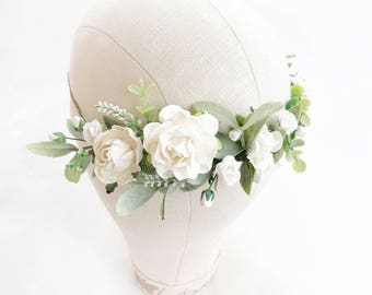White Flower crown, Bridal flower crown, Flower girl, Floral crown, Wedding flower crown, Bridal floral crown, Leaf flower crown, Woodland