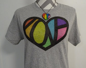 LGBT Love Shirt - Hidden Message - LGBT Shirt - Rainbow Heart - Gay Pride Shirt - Equality Shirt - Rainbow Shirt - Vintage Style Clothing
