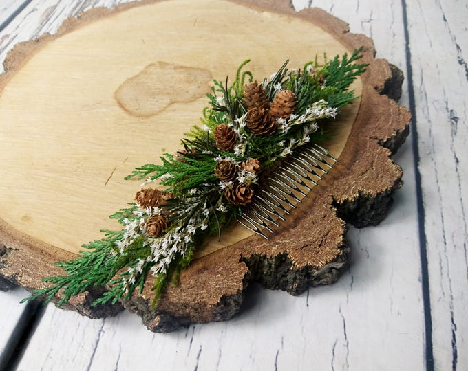 Greenery woodland winter pine cone hair comb rustic wedding bridal hairpiece green natural preserved real thuja conifer style boho bride