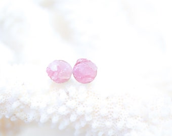 Rose Quartz Earrings - Raw Stone Earrings - Pink Stone Earrings - Rose Quartz Studs - Sterling Silver Stud Earrings - Stone Stud Earrings