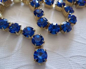 6mm Blue Rhinestone Chain - Brass Setting - Sapphire Blue Czech Crystals - Large Crystal Size 29SS