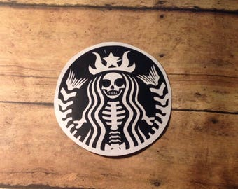 Starbucks Decal, Coffee Decal, Skull Decal, Skeleton Decal, Car Decal, Starbucks Logo, Laptop Decal, Starbucks Sticker, Skull Starbucks Logo