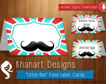 Instant Download: Mustache Food Labels (Red / Aqua)