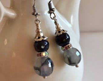 Agate & Onyx Earrings-Gemstone Drop Earrings