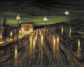 "Night railway station ""Smolensk"" - By V. Moskalenko Russian Original Oil Painting Canvas 38x32in."