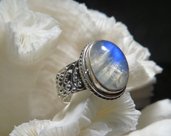 Beautiful Iridescent Moonstone Wide Band  Ring Size 7.75
