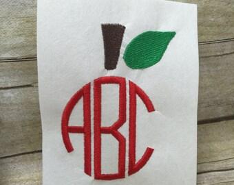 Apple Monogram Top Embroidery Design , Apple Stem and Leaf Embroidery Design
