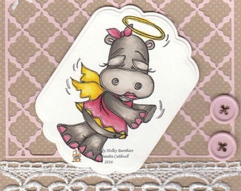 1074 Praying Angel Hippo Digi Stamp