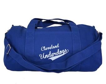 Royal Blue Duffel Bag with 'Cleveland Underdogs' in White Ink
