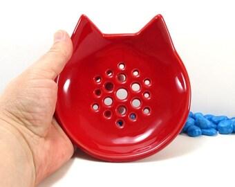 Cat soap dish, bathroom accessories, sponge holder, cat lover gift,  draining soap dish, ceramic soap dish, soap holder, soap saver, cat