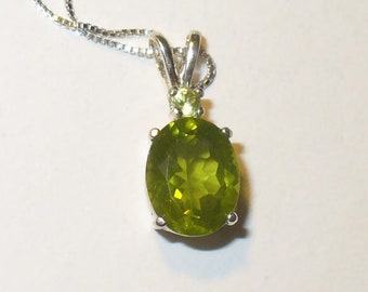 3 Carat Genuine Peridot in Solid Sterling Silver Pendant -  Natural Untreated Mined Gemstones