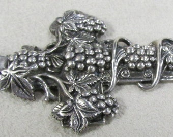 Sterling Silver Cross with Grapes and Vine Design
