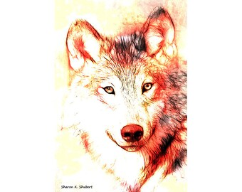 Wolf Painting Art, Native American Totem Animal, Southwestern Wild Animal, Red Yellow, Wall Hanging, Home Decor, 8 x 10, Giclee Print