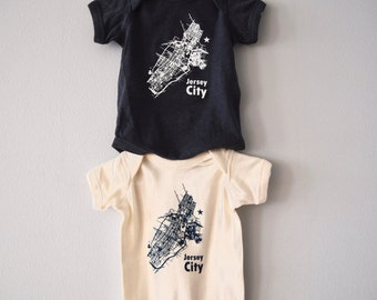 Jersey City map graphic onesie - for babies
