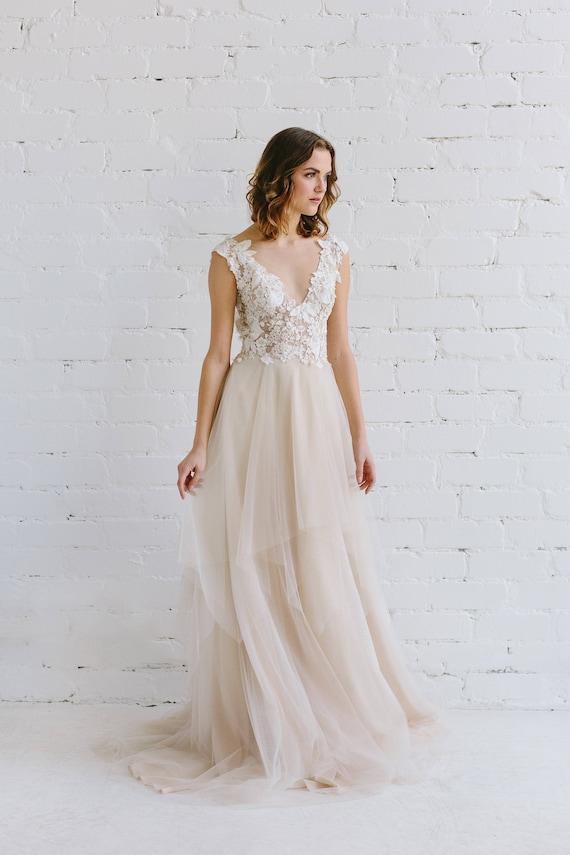 Champagne Lace Wedding Dress