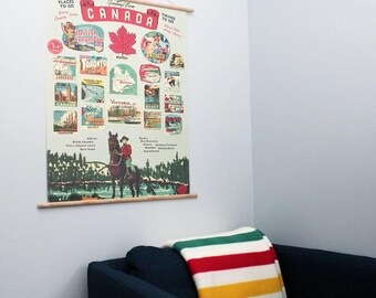 Canadian Provinces Retro 20 x 28'' Print + Hanging Kit