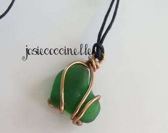 Beach style green glass long necklace boho-chic