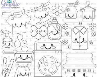 Laundry Stamp, COMMERCIAL USE, Digi Stamp, Digital Image, Party Digistamp, Laundry Coloring Page, Laundry Clipart, Laundry Graphics