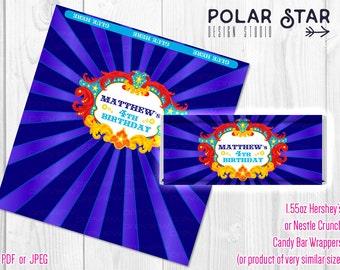 Vintage Circus / Carnival Themed Custom Big Candy Bar Wrappers - Printable Digital File (CC1)