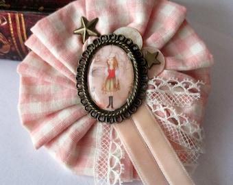 fancy fabric rosette brooch hand made pink cezed donkey skin