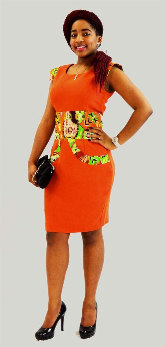 belle de robe soirée en satin orange en tissu africain