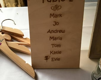 Wooden Engraved Table Plan, Wedding Table Plan