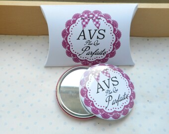 "58 mm mirror + gift box ""Perfect AVS"" white, Plum, black, gingham"