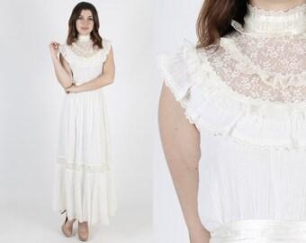 Gunne Sax Dress Boho Wedding Dress Prairie Dress Maxi Dress Bridesmaids Dress Vintage 70s Ivory Sheer Floral Lace Bridal Bridal Long Dress S