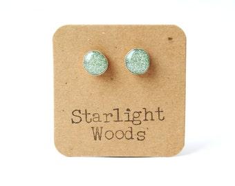 Sage Green Earrings • Sparkle earrings • Tiny Stud Earrings • Green Stud Earrings • Green Post Earrings