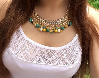 Yellow, turquoise, white, crystals golden short necklace, colourful necklace, sparkling necklace, shiny necklace, vibrant colours necklace
