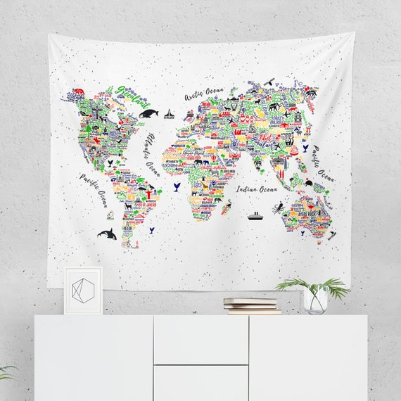 World map wall hanging world map tapestry world map wall gumiabroncs Image collections