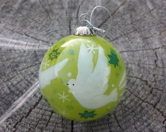 Hand-painted Glass Dove Christmas Ornament