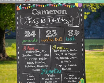 1ST BIRTHDAY Editable Chalkboard Sign || Instant Download Digital Reusable File|| Favorites Height Weight Book Song Food || 8x10 or 16x20