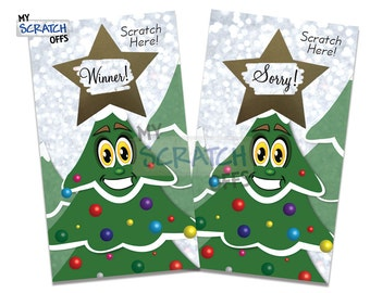 Christmas Tree Scratch Off Game Cards - Happy Holiday Christmas Scratch-Off Cards