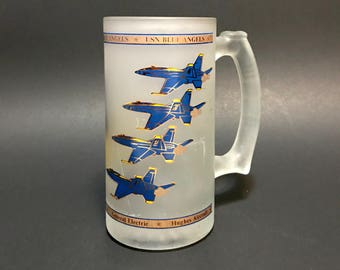 Vintage USN Blue ANGELS frosted glass mug, Mc Donnell Douglas Northrop Hughes Aircraft General Electric