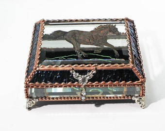 Etched  Equine Horse Hand Painted Jewelry Trinket Treasure Box