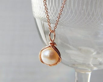 Pearl Necklace, AA Freshwater Pearl Silver/Gold/Rose Gold Necklace, June Birthstone, Bridesmaids Gifts, Pearl Jewelry, Wedding Jewelry, Gift
